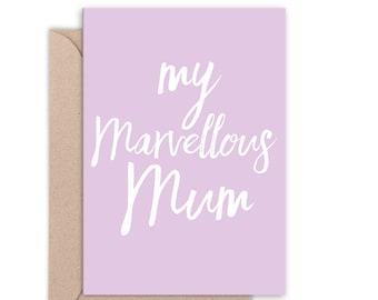 My Marvellous Mum Card   Mother's Day Card   Thanks Mum   Ma Mama Mom   Thanks Mom   Handmade   C6