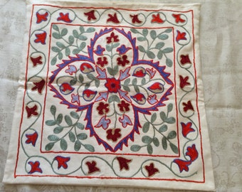 Silk Embroidered Pillowcase.  Hand Embroidery  With Silk Thread. Eastern Motif. (S2)