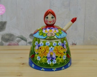 Sugar bowl with spoon, Gift for mom, Gift for woman, Hand painted wooden bowl in floral decor, Kitchen decor, Russian folk art