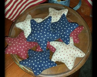 primitive July 4th star ornies, Independence Day stars, OFG, FAAP, Americana star bowl fillers, red white blue primitive stars,