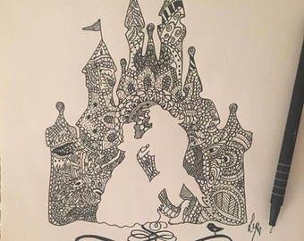 A4 Disney Mandala Cinderella Castle Beauty & the Beast silhouette-Hand Drawn Original