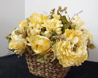 Silk Arrangement of Cream Magnolias and Roses in a Wicker Basket