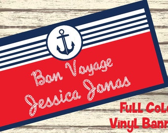 Anchors Away Nautical Personalized Party Banner