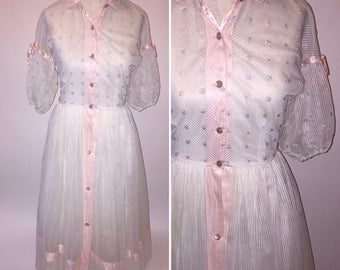Vintage 1950s Semi Sheer Pink and White Button Down Spring Dress Pin Up  Size Xsmall