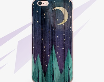 iPhone 7 Case Wood Phone iPhone 6 Case 6s Phone Case 6 Plus iPhone Case Wooden 6s Plus Moon iPhone 5S Case Green for Galaxy Case 0031