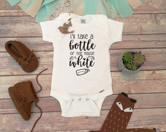 I'll Take a Bottle of the House White Baby Onesie®, Funny Baby Onesies, Cute Baby Clothes, Funny Baby Bodysuit, Unique Baby Romper,Wine Baby