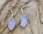 Genuine Lilac Sea Glass Earrings, Handmade Jewelry, Dangle Earrings, Genuine Beach Glass, Sea Glass Jewelry, Gift for Her, Girlfriend Gift