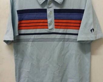 Vintage HANG TEN Embroidered Logo Colour Blocked Polo Shirt