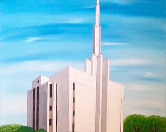 Tokyo, Japan Mormon Temple - Acrylic Painting; Christian Art