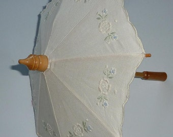 "Doll Parasol - Embroidered Cotton - Bamboo - Mid-century 9 1/2"" - Ann's RN 65899"
