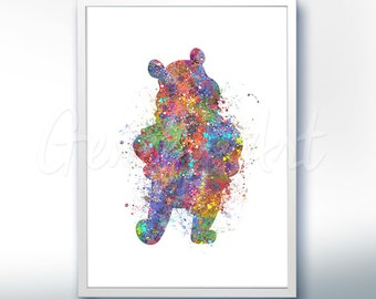 Disney Winnie the Pooh Watercolor Poster Print - Wall Decor - Artwork- Watercolor Painting - Watercolor Art - Kids Decor- Nursery Decor