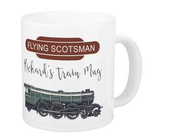 Flying Scotsman Train Gift Mug, Train Enthusiasts Gift Mug, Personalised Gift