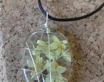 Sweet Flower necklace on the black neck ring - wire - wrapped pendant - 2, 5 cm - silver plated wire