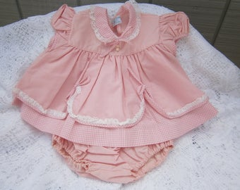 Vintage Pink Gingham Baby Girl