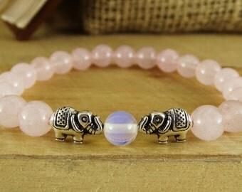 Pregnancy bracelet Fertility bracelet Fertility gift Pregnancy gift Elephant bracelet Rose quartz bracelet Womens bracelet Healing bracelet