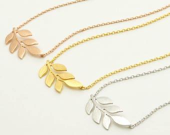 Laurel Necklace / sprig necklace, branch necklace, tree necklace, leaf necklace, nature inspired / N0-42