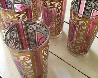 Vintage Fred Presser Glasses pink gold shabby chic