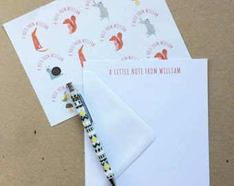 Personalised Animals Notepaper/Writing Set with stickers