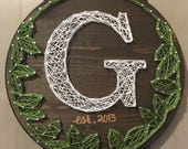 Monogram String Art sign made to order with date. Nail and String Art, Custom Leaf String Art, Gallery Wall Decor.