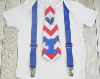 1st birthday boy outfit Chevrons boys one piece Suspenders Baby tie Bodysuit toddlers Birthday outfit boy Baby Gift photo Boy birthday suit
