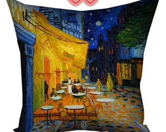 Vincent Van Gogh, decorative pillow, Van Gogh cafe terrace, VanGogh cushion, Van Gogh Sunflowers, Van Gogh reproductions, Van Gogh paintings