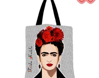 Tote bag Frida Kahlo, Bag with Frida, Prints Frida on a bag, tote bag Frida, modern tote bag, art print tote bag, Frida Kahlo handbag