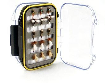 Fly Fishing Gift Set - 15 of Our Premium Hand-Tied Trout Fly Fishing Flies in Waterproof Shirt Pocket Fly Box - 5 Patterns