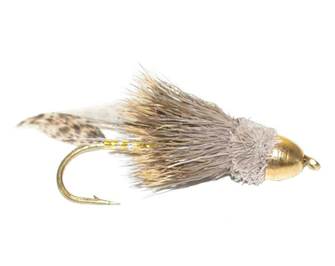 Hand-Tied Fly Fishing Trout Flies: Cone Head Muddler Minnow Classic Streamer Wet Fly - Hook Size 6