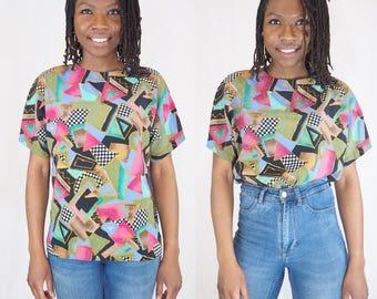90s Geometric Print Blouse