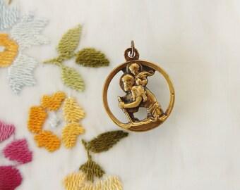 Large Vintage French Cutwork St. Christopher Medal