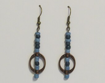 E-1769 Denim blue and copper earrings