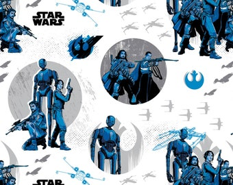 White Star Wars Rogue One Cotton Fabric