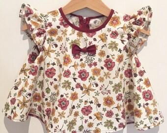 Maroon light floral swing top