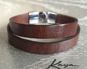 Leather Bracelet Womens Cuff, Brown, Silver Clasp Stainless Steel Handmade, Real Leather, Birthday Gift Bridesmaids Gift, Kaya Leather