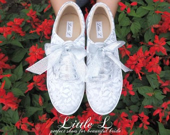 White Silver Lace Sneakers with silver Bow Tie Custom Colors