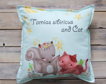 READY TO SHIP! Sibiricus and Cat pillow