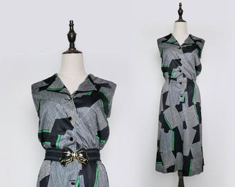 Black Green White Graphic Strip Vintage Women Dress 1980s Sleeveless Size M