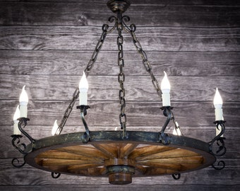 Lamp wooden wheel chandelier circle chain restaurant bower arbor 90 cm wood