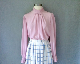 20% off using coupon! vintage dreamy pink blush silky blouse women's size S/M