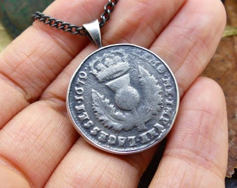 Scottish Bawbee Pendant, Sterling Silver, Necklace, Rare, Scots Halfpenny, Antique Silver Coin, Collectible, FREE WORLDWIDE DELIVERY (7779)