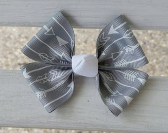 Gray and White Arrow Hair Bow (3.5 inch)