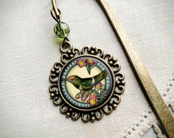 Hummingbird on Rose brass book hook bookmark with dangling glass cabochon accent