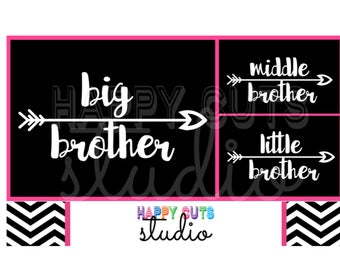 Big Brother or Middle Brother or Little Brother with Arrow Tribal Matching Family Siblings Iron On Vinyl Decal for T shirt 326