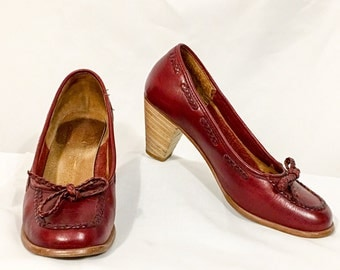 Vintage Burgundy Leather Pumps, Red Leather Loafer Style, Stacked Heels