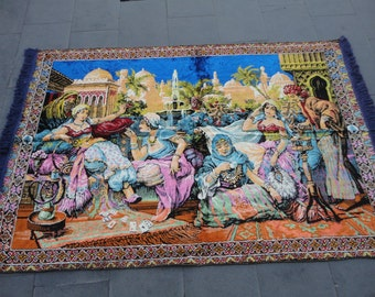 Vintage Turkish wall rug,illustrated ladies trinking coffee  in harem,71 x 48 inches