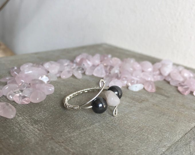 Sterling silver ring with Rose Quartz and magnetic Hematite