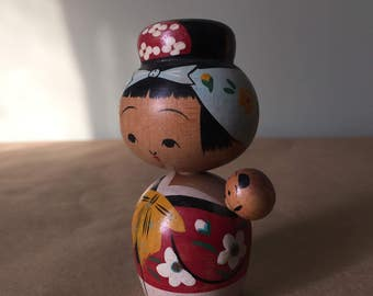 Kokeshi Japanese Wood Doll Carrying Baby Vintage Handmade Bobble Heads Made in Japan