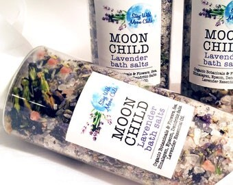 MOON CHILD Lavender Organic Bath Salts / Organic Salts / Natural Bath Salts / Bath Soak / Sea Salt / Detox Bath Salts / Bath Product / 8 oz.