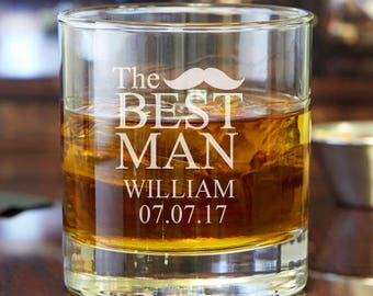 The Best Man Mustache Personalized Engraved 10 oz Rocks Glasses  - Engraved Whisky Glasses - DGI23-A7-RCK10OZ