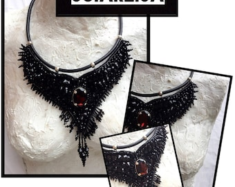 Embroidered necklace with black swarovski rhinestones